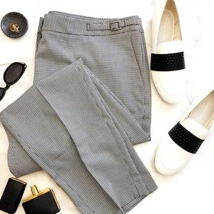 Black & White Houndstooth Slim Fit Ankle Pants